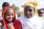 Two of the local girls at the Kembata annual festival in Durame. The focus for this year's festival is to highlight the efforts by USAID, through KMG, to eliminate gender-based violence and end marginalization of the community