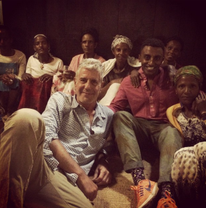 Anthony Bourdain with Marcus 'Joar' Samuelsson,  an Ethiopian-born, Swedish-raised chef and restaurateur, and locals