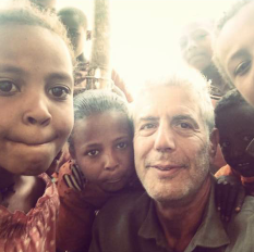 Anthony Bourdain with Ethiopian kids