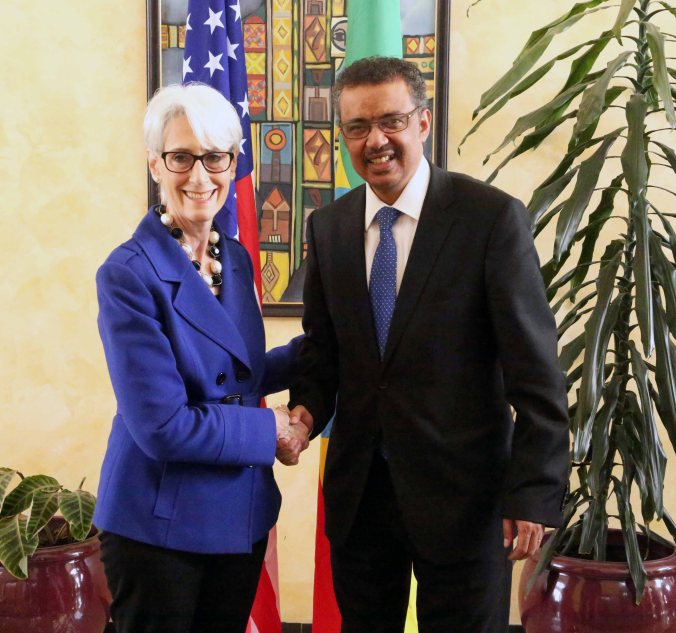 Under Secretary of State for Political Affairs Wendy Sherman meets with the Minister of Foreign Affairs Dr. Tedros Adhanom, April 2015