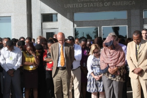 Embassy community gathered for a moment of silence for Ethiopians killed  by ISIS in Libya. April 2015