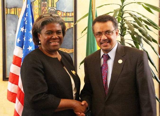 Linda Thomas-Greenfield Assistant Secretary of State for African Affairs meets Tedros Adhanom Minister of Foreign Affairs. January 2015