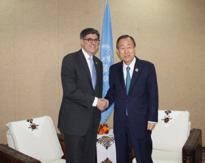 U.S. Secretary of the Treasury Jack Lew meets U.N. Secretary-General  Ban Ki-moon in Addis Ababa as part of the Financing for Development Conference, July 2015