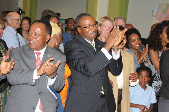 Former USAU Ambassador Reuben Brigety and Director-General of American Affairs Ambassador Taye Atskeselassie celebrate Black History Month at the U.S Embassy , Addis Ababa, February 2015