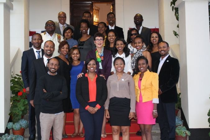 20014 and 2015 Young African Leaders (YALI) fellows with Ambassador Patricia Haslach