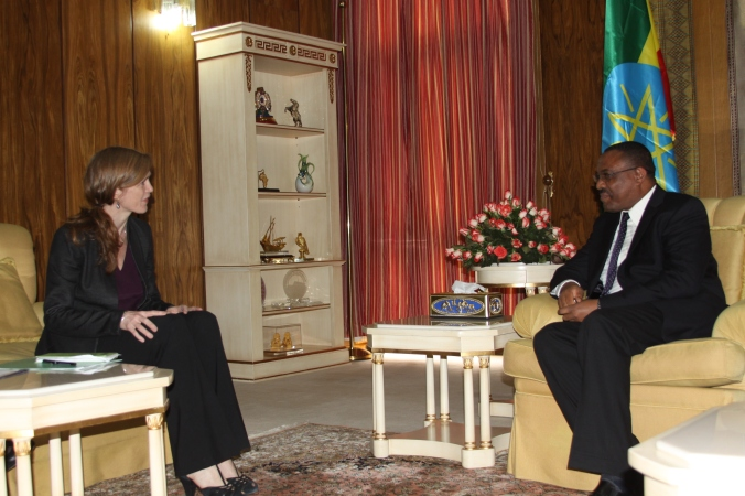 U.S. Ambassador to the United Nations Samantha Power meets Prime Minister Hailemariam Desalegn in Addis Ababa, March 2015
