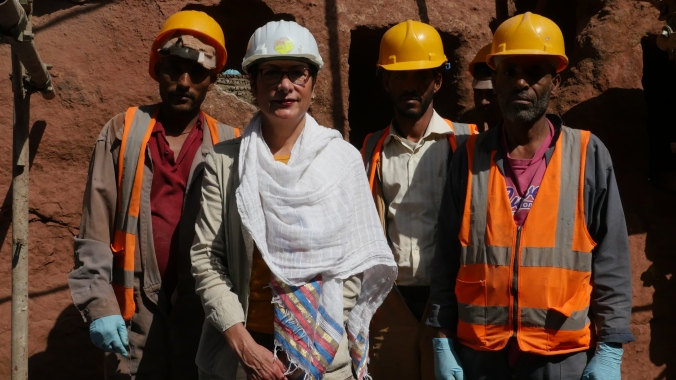 Ambassador Patricia Haslach meets with construction workers who received special training as part of the U.S. Embassy-funded Ambassador's Fund for Cultural Preservation project in Lalibela at the  St. Rafael Gabriel Church. September 2015