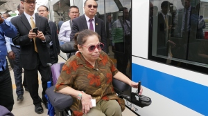 """U.S. Department of State Special Advisor for International Disability Rights Judith E. """"Judy"""" Heumann visits Addis Ababa's newly-opened Light Rail Way to explore the access for disabled persons. November 2015"""